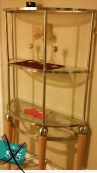 clear glass 3-tier rack with stainless steel frame 2237 mi