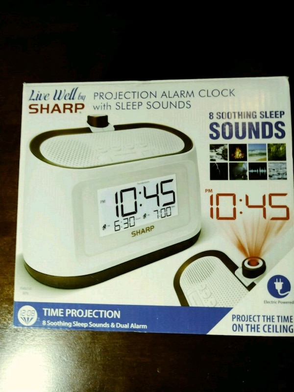 Sharp projection alarm clock with sleep sounds