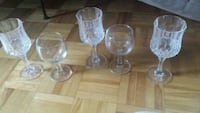 six clear glass footed cups Peterborough, K9J 6N6