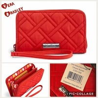 quilted red Vera Bradley Grab & Go wristlet collage
