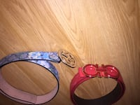 blue, and pink leather belts