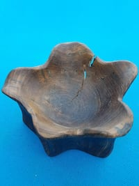 round brown wooden tray/dish/candle holder Waldorf, 20603