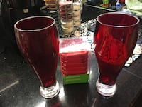 Red drinking glasses and set of pinch bowls. East St. Paul, R2E 0G5