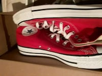 red-and-white Converse high-top sneakers