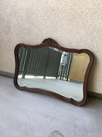 Antique Wooden Floral Mirror