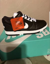 Unpaired black and white nike sneaker with box