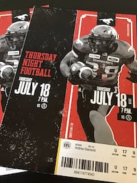 Stampeders tickets for July18 game . Calgary, T2G 4J6