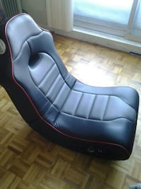 black leather floor gaming chair