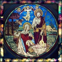 """""""The Nativity"""" 1986 Danbury Mint Stained Glass & Pewter Collection Plate Columbia, 21044"""