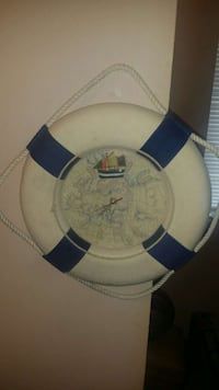 white and blue lifebuoy themed analog wall clock Decatur, 62526