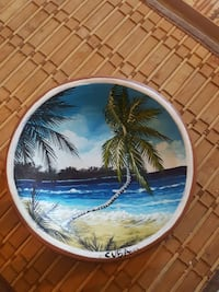 round blue and green coconut tree decorative plate