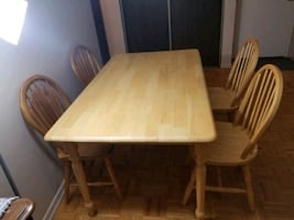 Dining table wid chairs, tv table, pictures