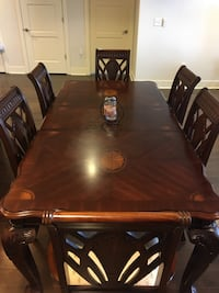 Rectangular brown wooden table with six chairs dining set Charlotte, 28202