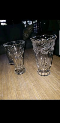 two clear cut glass vases 895 mi