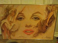 rectangular brown frame Marilyn Monroe painting