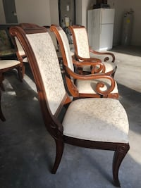 Bernhardt dining room chairs, carved wood and upholstery Longwood, 32779