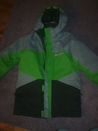 green and gray zip-up hoodie