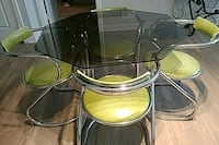 Smoke glass, chrome & green dinette set Frederick, 21703