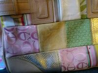 pink and green Coach leather wristlet 866 mi