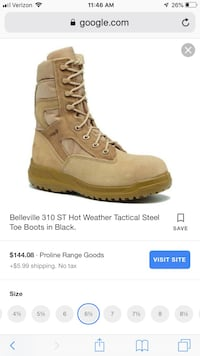 Belleville Tan Tactical Boots with Safety Toes, Men's size 6.5/Women's 7.5 Manassas, 20112
