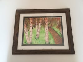 Framed birch forest watercolor painting