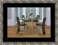Counter height glass dining table with 4 chairs Ashburn