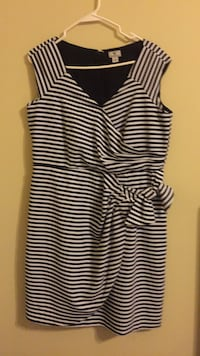 black and white stripe sleeveless dress