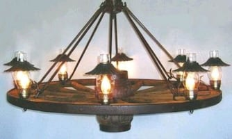 """Antique wagon wheel light 36""""/Dia frosted glass/"""