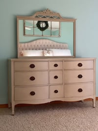 Beautiful antique dresser painted with country grey Annie Sloan chalk paint.