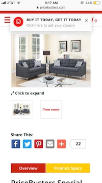 Modern Gray Sofa & Loveseat