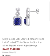 Tanzanite & Sapphire Earring in 925 Sterling Silve Anchorage, 99508