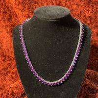 Sterling Silver & Natural Untreated Amethyst Tennis Necklace Chantilly, 20151