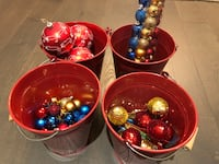 Never Used - Christmas Ornaments + 4 Red Baskets Burnaby, V5E 3N2