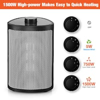 Heater with Adjustable Thermostat-Perfect for The Home and Office, 750W/1500W, Black 214 mi