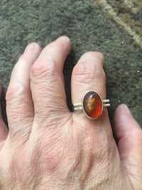 Ladies sterling silver ring with genuine amber ladies size 9 Burnaby, V5E