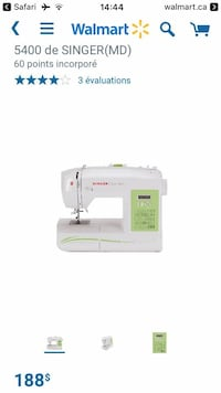 5400 De Singer (MD) electric sewing machine Lac-Beauport, G3B