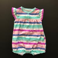 Butterfly Stripes - baby girl romper, size 3 mo