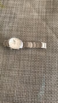 round silver analog watch with silver link bracelet Oakville, L6M 3E9
