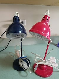 Pottery Barn Kids table lamps Nsvy and Red