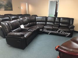 Brand New Espresso Reclining Sofa Sectional 2 Chairs Cup Holders More