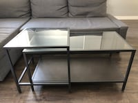 Nesting tables (2) + Laptop stand, glass table top