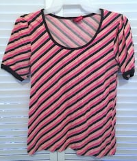 DIVIDED H&M SIZE 8 PINK BROWN WHITE STRIPED SCOOP NECK SHORT SLEEVE SHIRT Broomall
