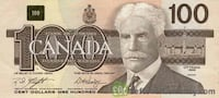 Old canadian 100 paper bill Westmount, H3Z 1A1