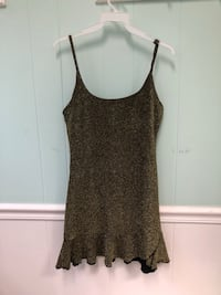 women's gray spaghetti strap, gold tone, shimmery dress size xs/s Fairfax, 22031