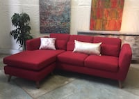 red suede sectional sofa with throw pillows North Vancouver, V7L
