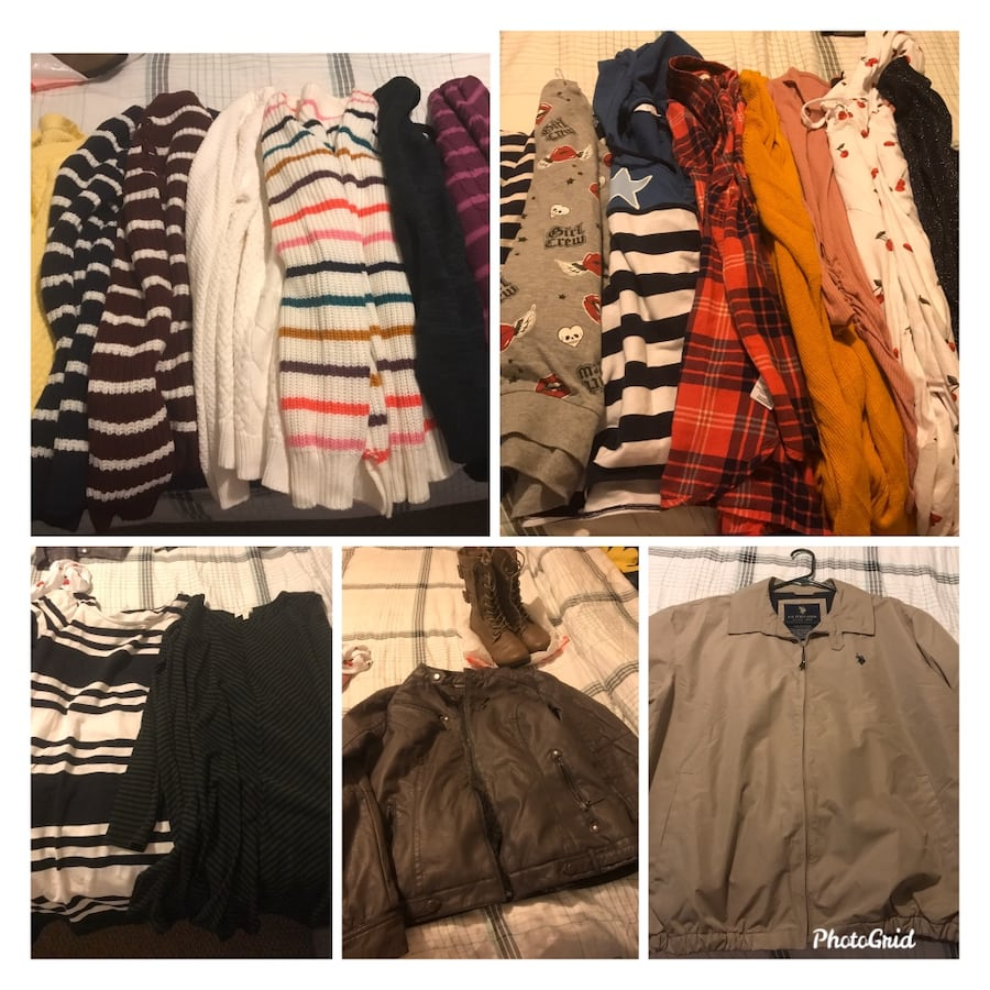 Women sweater and jacket M/L size with 1 polo jacket xl