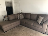 Fairy New, Barely used Grey Cashmere Sectional with Ottoman with Free TV stand Anaheim, 92804