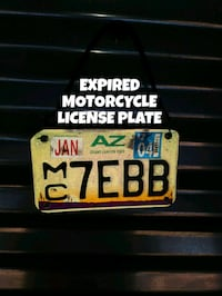EXPIRED MOTORCYCLE LICENSE PLATE Glendale, 85306