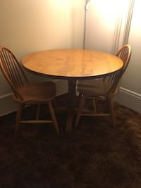 round brown wooden table with four chairs dining set Avon, 14414