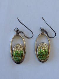 sterling silver & green quartz oval earrings BOWIE